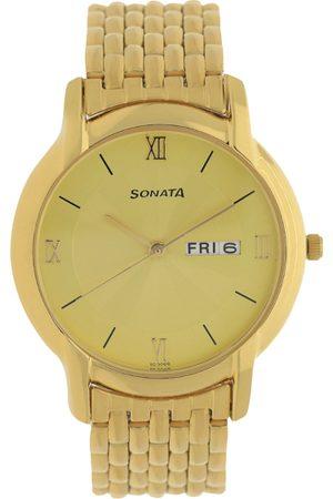 Sonata Men Watches - Office Wear Men Gold Analogue watch NK7954YM02