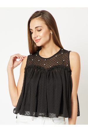 Miss Chase Women Black Embellished A-Line Top