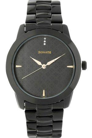 Sonata Men Black Analogue Watch NK7924NM01