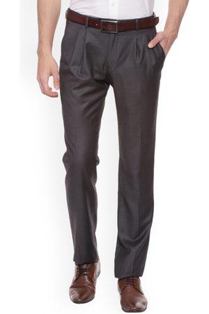 Van Heusen Men Brown Slim Fit Solid Formal Trousers