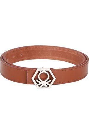 Benetton Men Tan Solid Leather Belt