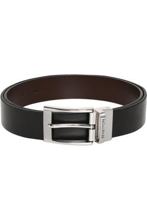 Benetton Men Black & Brown Reversible Solid Belt