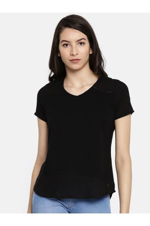 Pepe Jeans Women Black Solid Styled Back Top