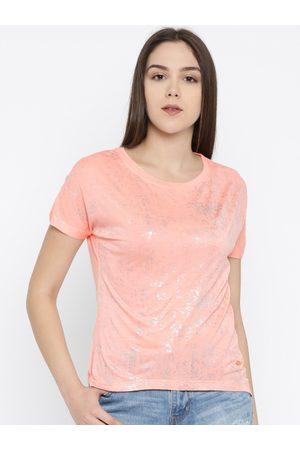 Park Avenue Women Peach-Coloured Printed Top