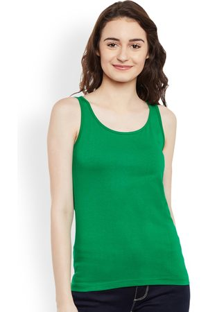 Miss Chase Women Green Solid Tank Pure Cotton Top