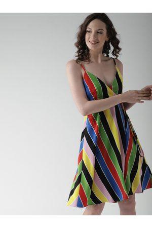 Forever 21 Women Dresses - Women Multicoloured Striped Wrap Dress