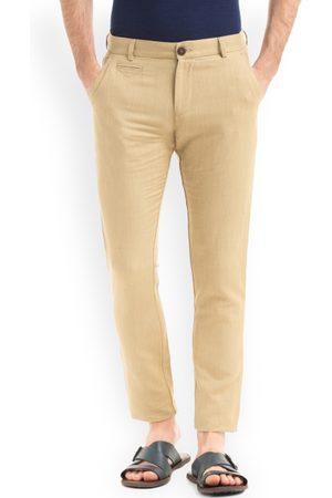 True Blue Men Beige Slim Fit Solid Regular Trousers