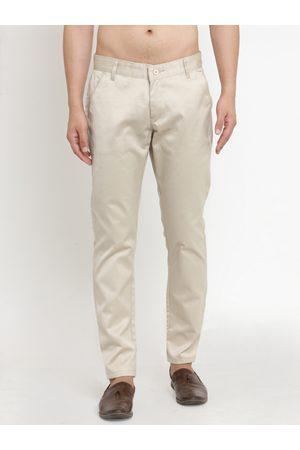JAINISH Men Cream-Coloured Smart Slim Fit Solid Chinos
