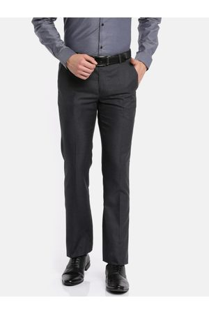 Arrow Men Charcoal Grey Slim Fit Solid Formal Trousers