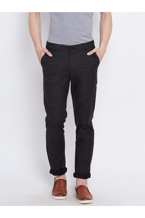 Benetton Men Grey Patterned Slim Fit Flat-Front Trousers