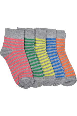 Marc Kids Unisex Pack of 5 Striped Ankle-Length Socks