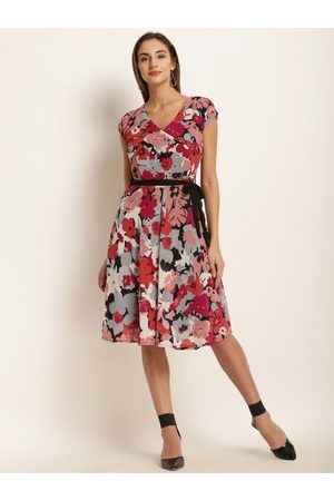 Harpa Women Multicoloured Floral Print Fit and Flare Dress