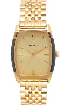 Sonata Men Gold-Toned Analogue Watch NK7080YM02