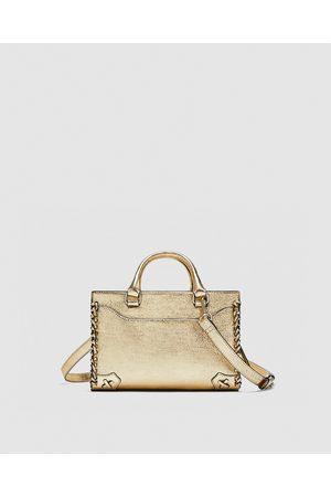 Zara MINI GOLDEN BOWLING BAG