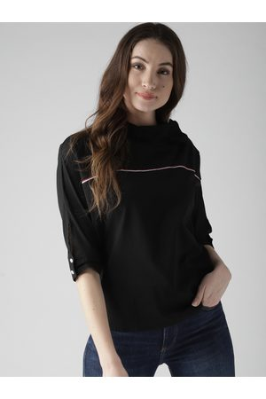 Style Quotient Women Black Solid Boxy Top