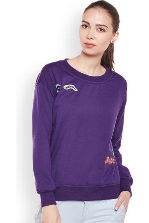 Belle Women Purple Solid Sweatshirt