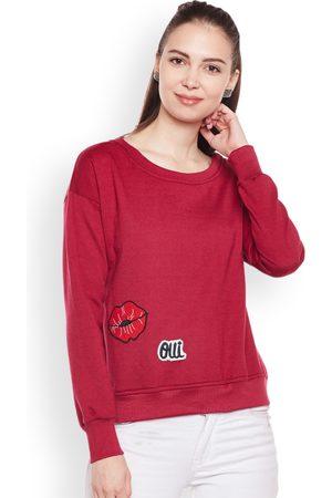 Belle Women Maroon Solid Sweatshirt