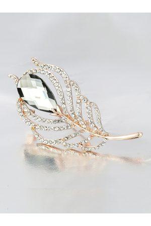 Crunchy Fashion Women Gold-Toned & Grey Stone-Studded Leaf-Shaped Brooch
