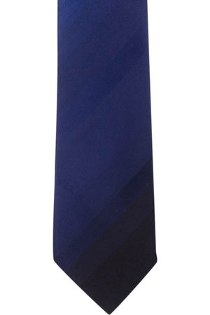 The Tie Hub Neckties - Black & Navy Blue Colourblocked Skinny Tie