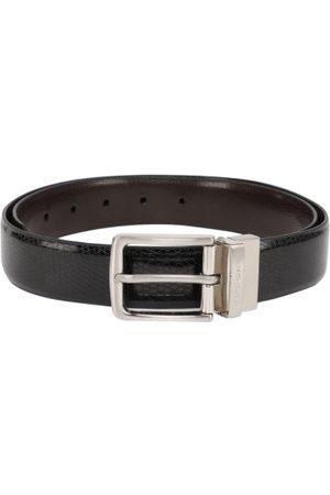 Peter England Men Reversible Black & Brown Textured Belt