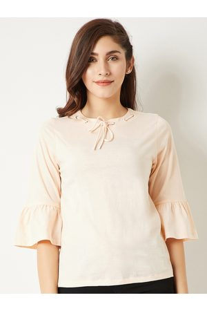 Miss Chase Women Peach-Coloured Solid Top