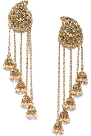 Zaveri Pearls Gold-Plated Stone-Studded Beaded Drop Earrings