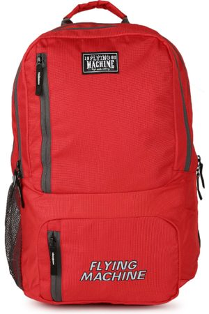 Flying Machine Men Red Brand Logo Backpack