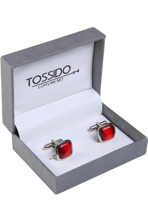 Tossido Silver Embellished Square Cufflinks