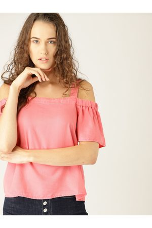 Esprit Women Pink Solid Bardot Top