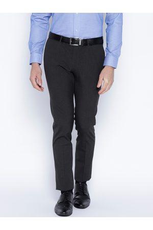 Blackberrys Men Charcoal Grey Regular Fit Solid Formal Trousers