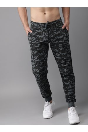 HERE&NOW Men Black & Printed Track Pants