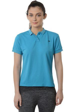 Da Intimo Women Blue Solid Polo Collar T-shirt