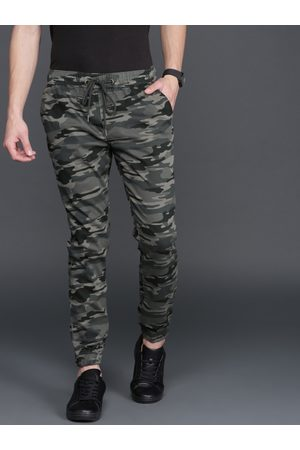 WROGN Men Charcoal Grey Regular Fit Camouflage Print Joggers