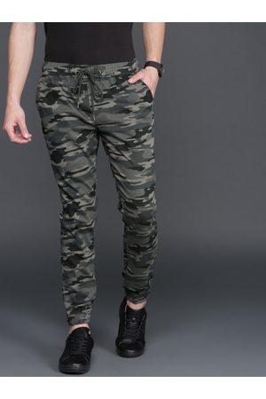 WROGN Men Grey Regular Fit Camouflage Print Joggers