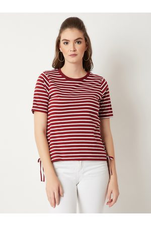 Miss Chase Women Maroon Striped Top