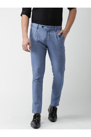 Invictus Men Blue Slim Fit Checked Regular Trousers