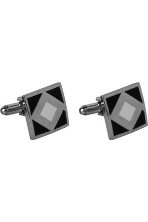 JEWEL JUNCTION Silver-Toned & Black Square Cufflinks