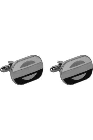 JEWEL JUNCTION Silver-Toned Oval Cufflinks