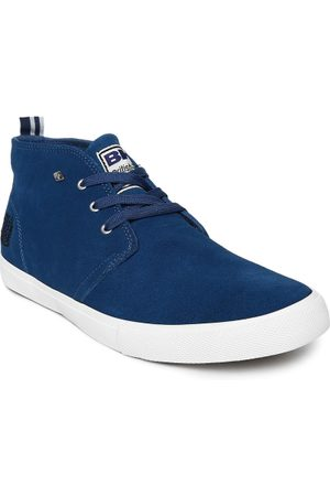 British Knights Men Blue Solid Suede Mid-Top Sneakers