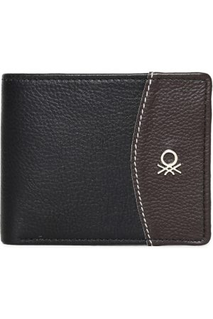Benetton Men Black & Brown Solid Two Fold Wallet