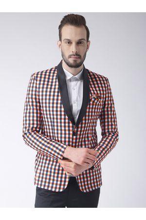 Hangup Men Orange Black & White Checked Single-Breasted Blazer