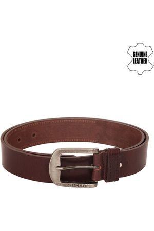 Scharf Men Brown Leather Solid Belt