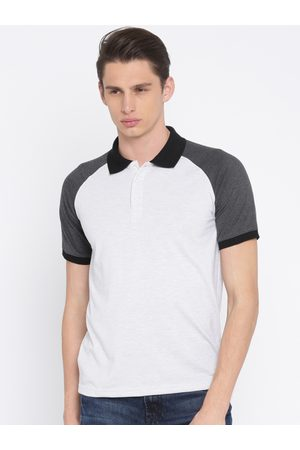 American Crew Men Off-White Solid Polo T-shirt