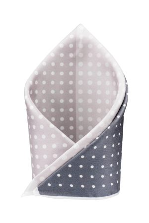 The Tie Hub Grey & White Four Square Printed Polka-Dotted Pocket Square