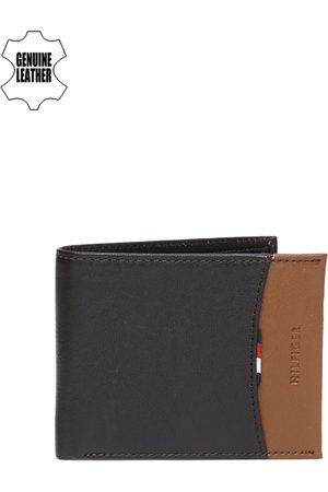 Tommy Hilfiger Men Black & Brown Colourblocked Two Fold Leather Wallet