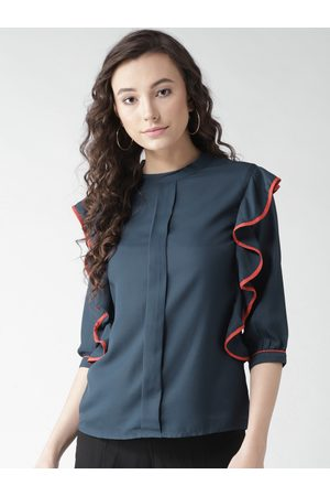 Style Quotient By noi Women Navy Blue Solid Top