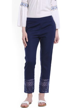 Fusion Beats Women Blue Regular Fit Solid Regular Trousers