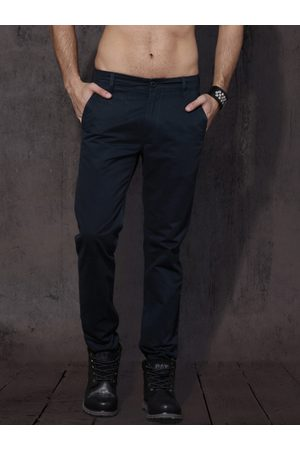 Roadster Men Navy Blue Slim Fit Solid Chinos
