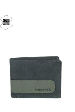 Fastrack Men Blue & Green Genuine Leather Wallet