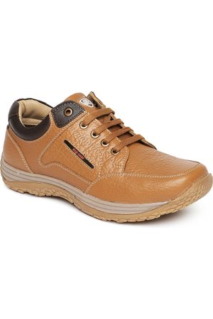 Red Chief Men Tan Brown Real Leather Sneakers